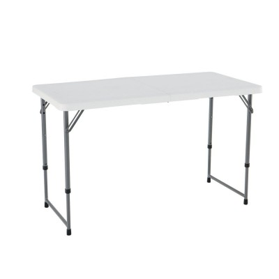 Table pliante blanche hauteur r glable l122 x p60cm x for Table exterieur walmart