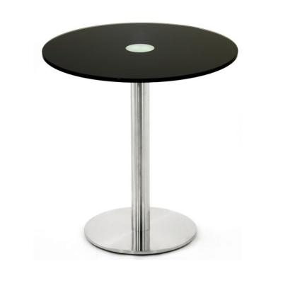 table ronde diam tre 60 cm en verre noir hauteur 65 cm avec pied central inox mobilier de. Black Bedroom Furniture Sets. Home Design Ideas