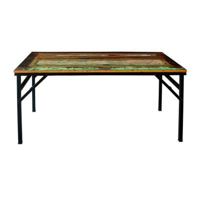 Table Vintage bois/métal L140 x P70 x H75cm-Table rectangle