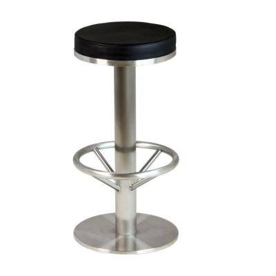 tabouret de bar assise ronde simili cuir noir avec hauteur fixe et repose pied mobilier de. Black Bedroom Furniture Sets. Home Design Ideas