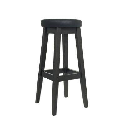 tabouret de bar hauteur fixe 4 pieds tapiss assise ronde simili cuir noir mobilier de salle. Black Bedroom Furniture Sets. Home Design Ideas