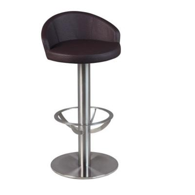 tabouret de bar avec si ge et dossier simili cuir hauteur fixe coloris marron mobilier de. Black Bedroom Furniture Sets. Home Design Ideas