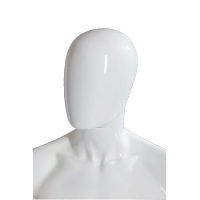 "Tête homme ""Oeuf""  modulable blanc brillant style Design-Mannequins homme"