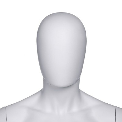 "Tête homme  ""Oeuf"" PP  modulable blanc mat style Design-Mannequins homme"