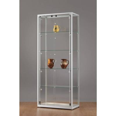 vitrine grise clairage lat ral led 80x40x198 cm vitrines d 39 exposition pr sentoirs. Black Bedroom Furniture Sets. Home Design Ideas