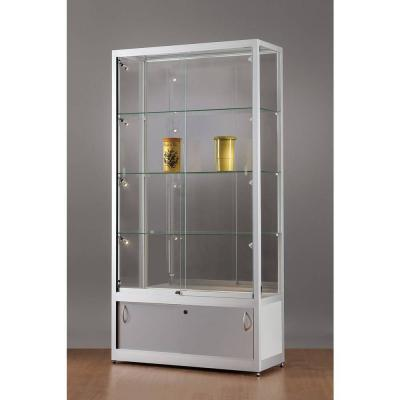 vitrine grise avec rangement et clairage lat ral led 100x40x197 cm vitrines d 39 exposition. Black Bedroom Furniture Sets. Home Design Ideas