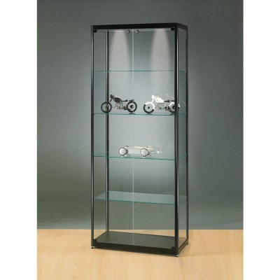vitrine noire avec clairage plafond led 80x40x200 cm vitrines d 39 exposition pr sentoirs. Black Bedroom Furniture Sets. Home Design Ideas