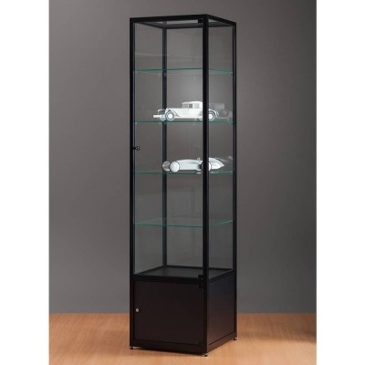 vitrine noire sans clairage avec rangement 50x50x198 cm vitrines d 39 exposition pr sentoirs. Black Bedroom Furniture Sets. Home Design Ideas
