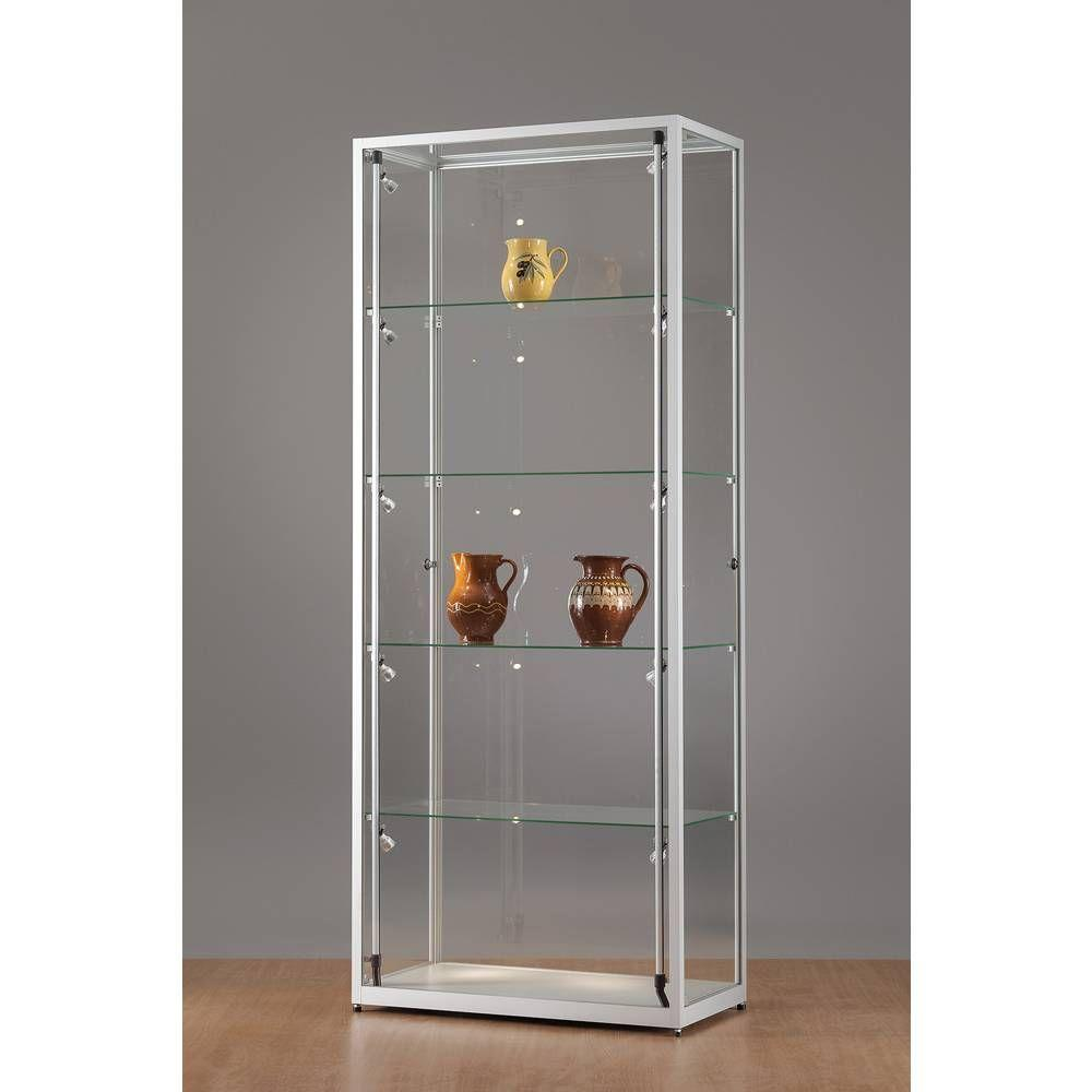 vitrine grise avec portes et clairage led lat raux 80x40x198 cm vitrines pr sentoirs et. Black Bedroom Furniture Sets. Home Design Ideas