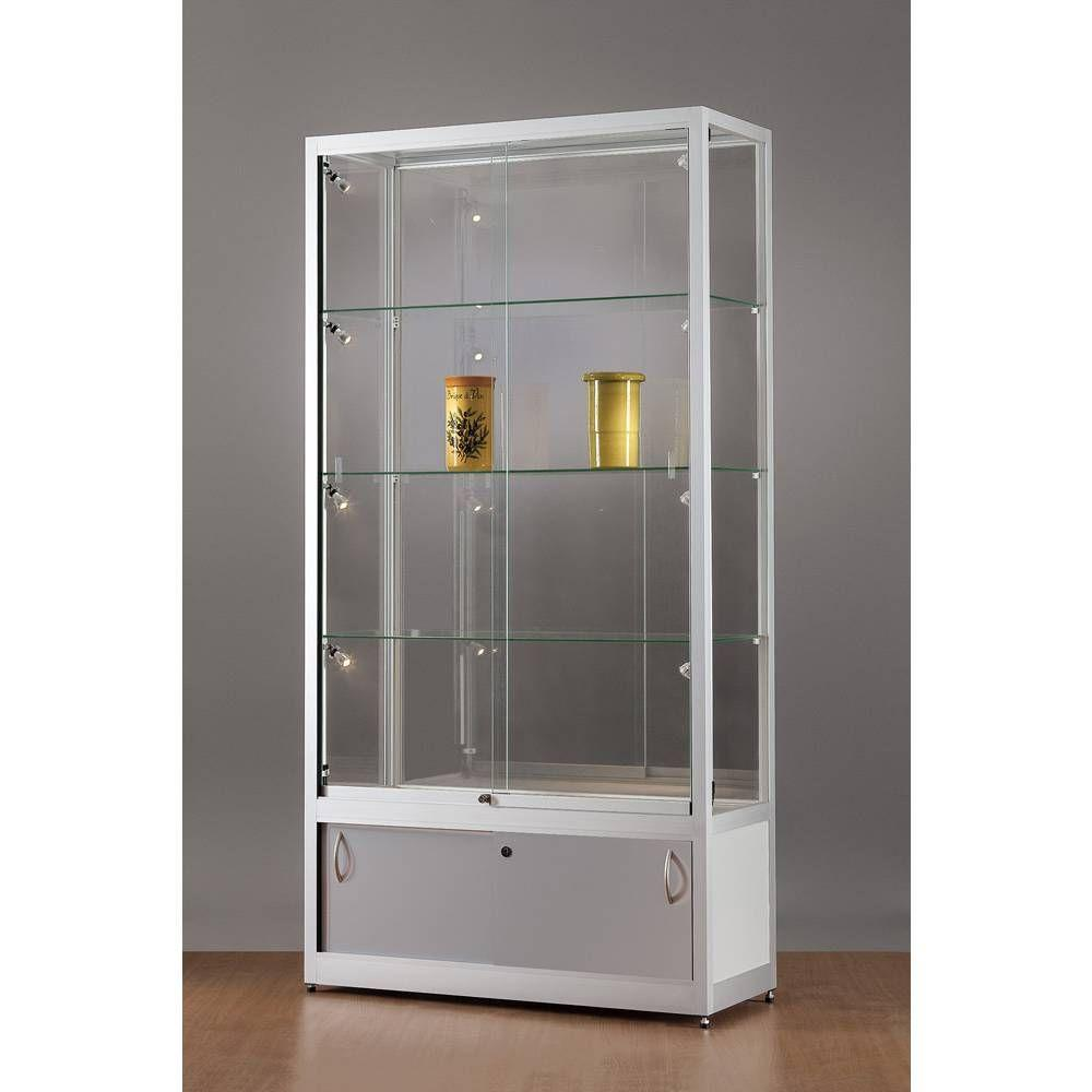 vitrine grise avec rangement et clairage lat ral led 100x40x197 cm vitrines pr sentoirs et. Black Bedroom Furniture Sets. Home Design Ideas