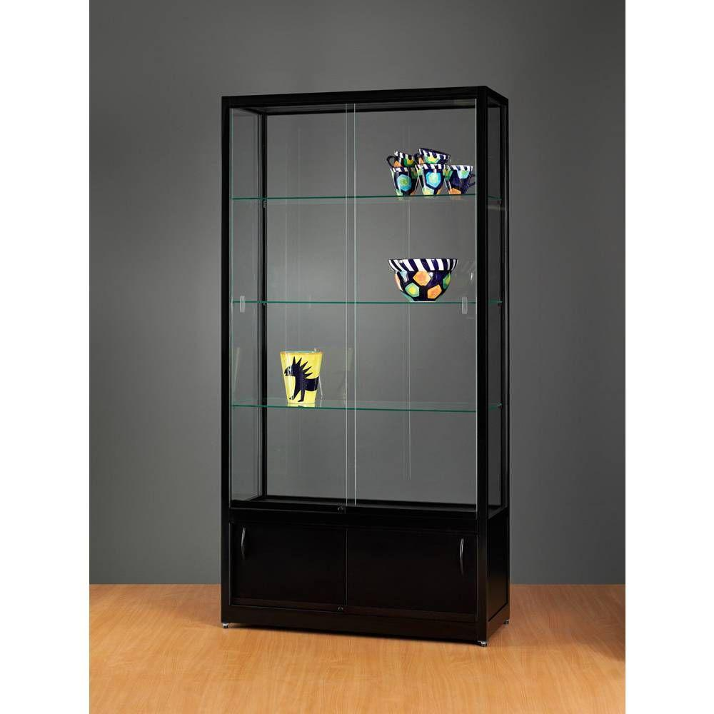 vitrine noire sans clairage avec rangement 100x40x197 cm vitrines pr sentoirs et vitrines. Black Bedroom Furniture Sets. Home Design Ideas