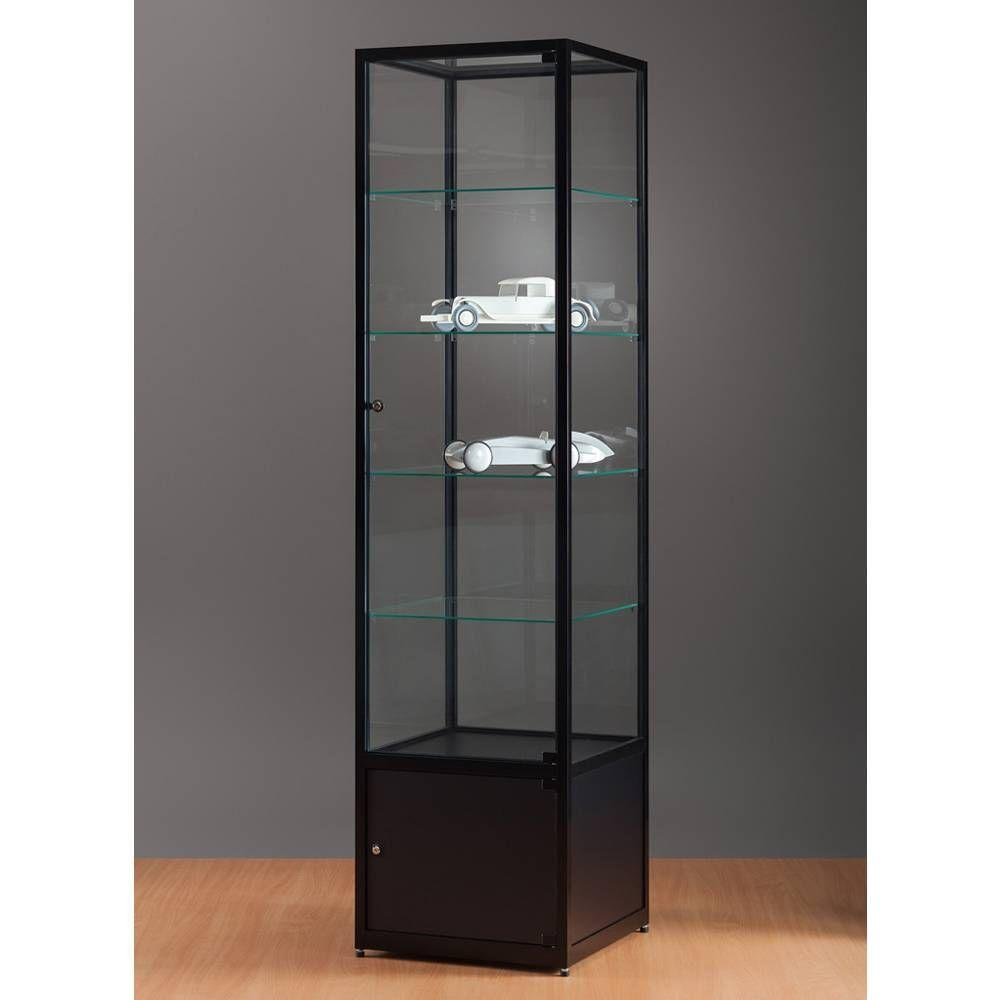 vitrine noire sans clairage avec rangement 50x50x198 cm vitrines pr sentoirs et vitrines. Black Bedroom Furniture Sets. Home Design Ideas